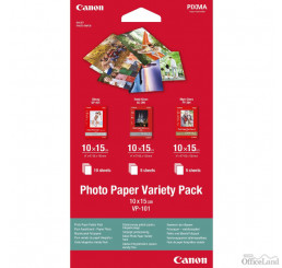 "Canon Photo Paper Variety Pack VP-101, foto papier, 5x PP201, 5x SG201, 10x GP501 typ lesklý, biely, 10x15cm, 4x6"", 20 ks, 0775B07"