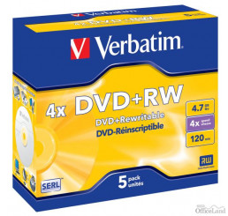 Verbatim DVD+RW, 43229, DataLife PLUS, 5-pack, 4.7GB, 4x, 12cm, General, Standard, jewel box, Scratch Resistant, bez možnosti potl