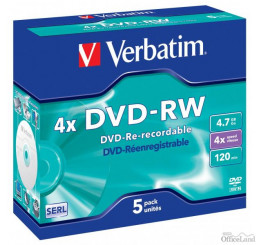 Verbatim DVD-RW, 43285, DataLife PLUS, 5-pack, 4.7GB, 4x, 12cm, General, Serl, jewel box, Scratch Resistant, bez možnosti potlače,