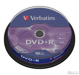 Verbatim DVD+R, 43498, DataLife PLUS, 10-pack, 4.7GB, 16x, 12cm, General, Advanced Azo+, cake box, Scratch Resistant, bez možnosti