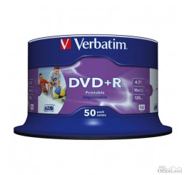 Verbatim DVD+R, 43512, DataLife PLUS, 50-pack, 4.7GB, 16x, 12cm, Professional, Advanced Azo+, cake box, Wide Printable-No ID Brand