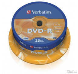 Verbatim DVD-R, 43522, DataLife PLUS, 25-pack, 4.7GB, 16x, 12cm, General, Advanced Azo+, cake box, Scratch Resistant, bez možnosti