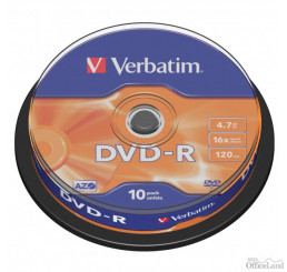 Verbatim DVD-R, 43523, DataLife PLUS, 10-pack, 4.7GB, 16x, 12cm, General, Advanced Azo+, cake box, Scratch Resistant, bez možnosti