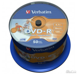 Verbatim DVD-R, 43533, DataLife PLUS, 50-pack, 4.7GB, 16x, 12cm, General, Advanced Azo+, cake box, Wide Printable-No ID Brand