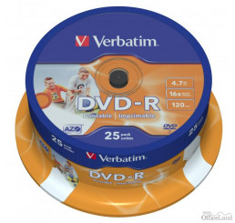 Verbatim DVD-R, 43538, DataLife PLUS, 25-pack, 4.7GB, 16x, 12cm, General, Advanced Azo+, cake box, Wide Printable, pre archiváciu