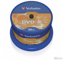 Verbatim DVD-R, 43548, DataLife PLUS, 50-pack, 4.7GB, 16x, 12cm, General, Advanced Azo+, cake box, Scratch Resistant, bez možnosti