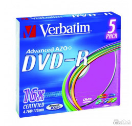 Verbatim DVD-R, 43557, DataLife PLUS, 5-pack, 4.7GB, 16x, 12cm, General, Advanced Azo+, slim box, Colour, bez možnosti potlače, pr