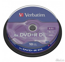 Verbatim DVD+R, 43666, DataLife PLUS, 10-pack, 8.5GB, 8x, 12cm, General, Double Layer, cake box, Matt Silver, bez možnosti potlače