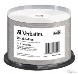 Verbatim CD-R, 43745, DataLife PLUS, 50-pack, 700MB, 52X, Professional, 80min., 12cm, Wide Inkjet Professional, Printable, cake bo