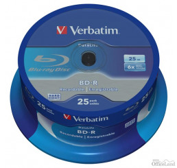 Verbatim BD-R, Single Layer 25GB, spindle, 43837, 6x, 25-pack
