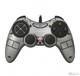 Gamepad Defender Zoom, 10tl., USB, šedý, vibračné, Windows XP/VISTA/7/8/10