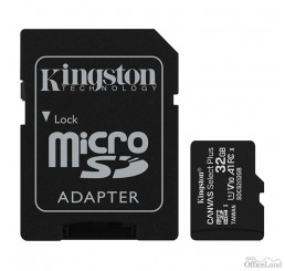 Kingston pamäťová karta Canvas Select Plus, 32GB, micro SDHC, SDCS2/32GB, UHS-I U1 (Class 10), s adaptérom, A1