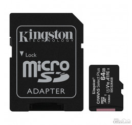Kingston pamäťová karta Canvas Select Plus, 64GB, micro SDXC, SDCS2/64GB, UHS-I U1 (Class 10), s adaptérom, A1